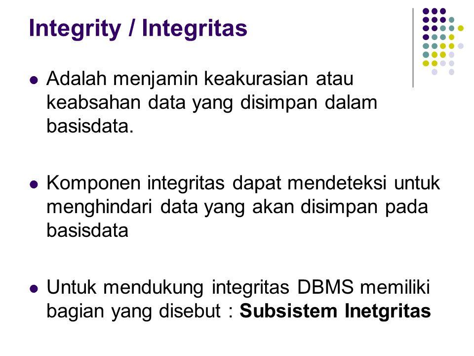 Integrity / Integritas Adalah menjamin keakurasian atau keabsahan data yang disimpan dalam basisdata. Komponen integritas dapat mendeteksi untuk mengh