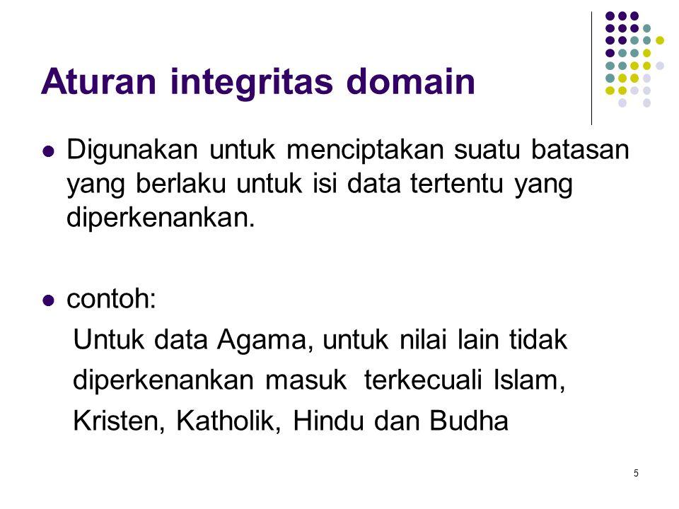 Aturan integritas domain Digunakan untuk menciptakan suatu batasan yang berlaku untuk isi data tertentu yang diperkenankan. contoh: Untuk data Agama,