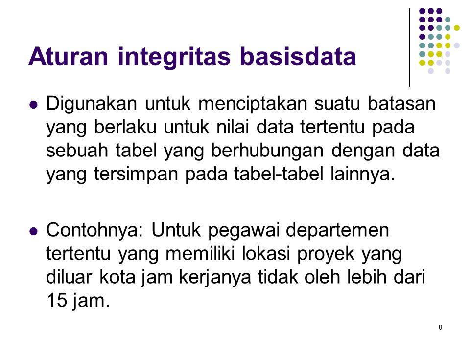 Aturan integritas basisdata Digunakan untuk menciptakan suatu batasan yang berlaku untuk nilai data tertentu pada sebuah tabel yang berhubungan dengan