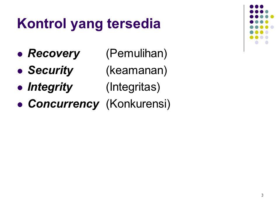 Kontrol yang tersedia Recovery (Pemulihan) Security (keamanan) Integrity (Integritas) Concurrency (Konkurensi) 3