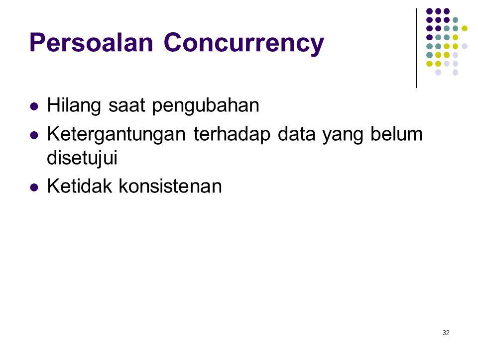 Persoalan Concurrency Hilang saat pengubahan Ketergantungan terhadap data yang belum disetujui Ketidak konsistenan 32