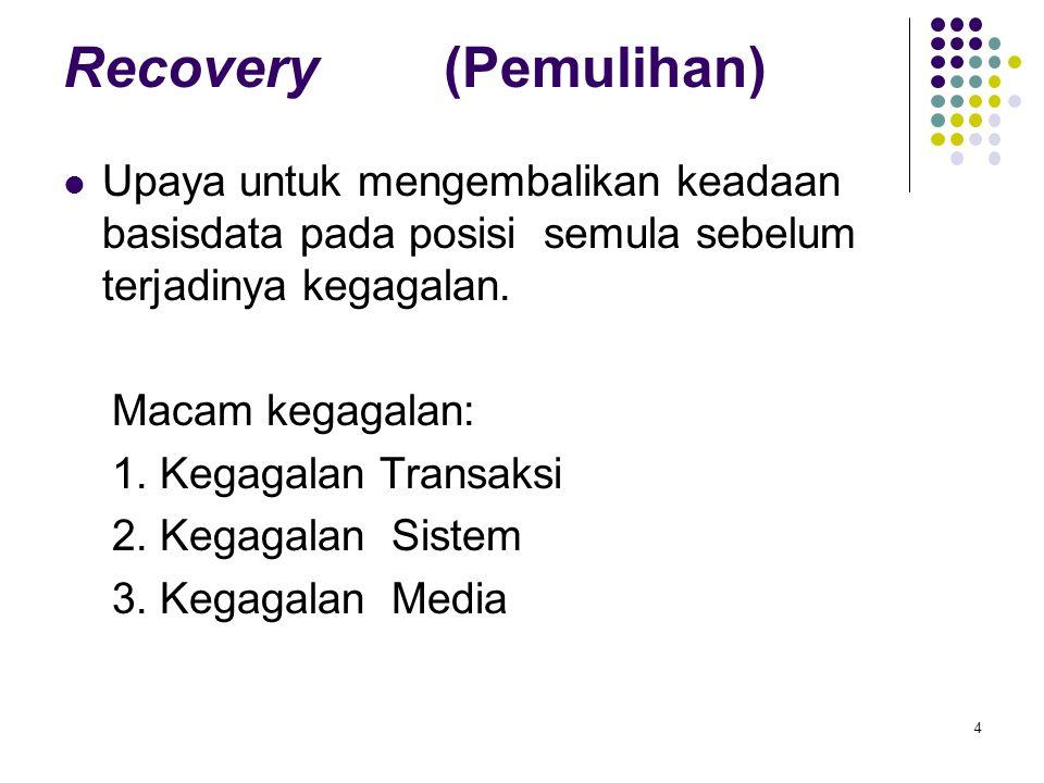 Recovery (Pemulihan) Upaya untuk mengembalikan keadaan basisdata pada posisi semula sebelum terjadinya kegagalan. Macam kegagalan: 1. Kegagalan Transa