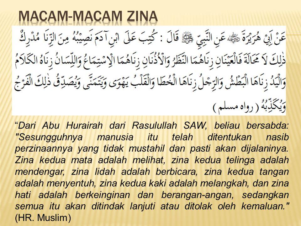 Dari Abu Hurairah dari Rasulullah SAW, beliau bersabda: Sesungguhnya manusia itu telah ditentukan nasib perzinaannya yang tidak mustahil dan pasti akan dijalaninya.