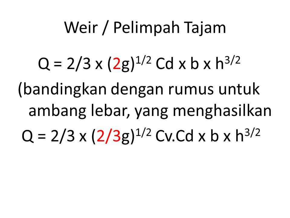 Weir / Pelimpah Tajam Q = 2/3 x (2g) 1/2 Cd x b x h 3/2 (bandingkan dengan rumus untuk ambang lebar, yang menghasilkan Q = 2/3 x (2/3g) 1/2 Cv.Cd x b x h 3/2