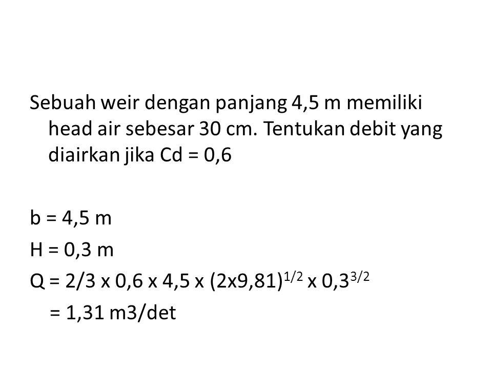 Sebuah weir dengan panjang 4,5 m memiliki head air sebesar 30 cm. Tentukan debit yang diairkan jika Cd = 0,6 b = 4,5 m H = 0,3 m Q = 2/3 x 0,6 x 4,5 x