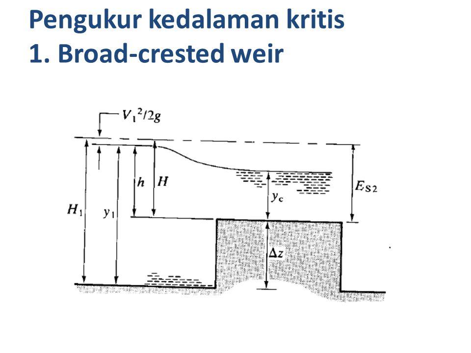 Q = 2/3 Cd x b x (2g) 1/2 x H 3/2 9 = 2/3 x 0,62 x 8 x (2x9,81) 1/2 x H 3/2 H = 0,723 Ketinggian weir adalah 2-0,723 = 1,277 m.