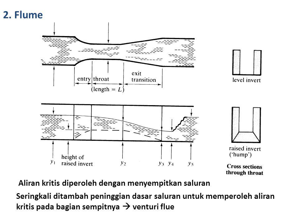 2. Flume Aliran kritis diperoleh dengan menyempitkan saluran Seringkali ditambah peninggian dasar saluran untuk memperoleh aliran kritis pada bagian s