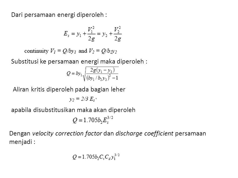 Dari persamaan energi diperoleh : Dengan velocity correction factor dan discharge coefficient persamaan menjadi : Substitusi ke persamaan energi maka diperoleh : Aliran kritis diperoleh pada bagian leher apabila disubstitusikan maka akan diperoleh