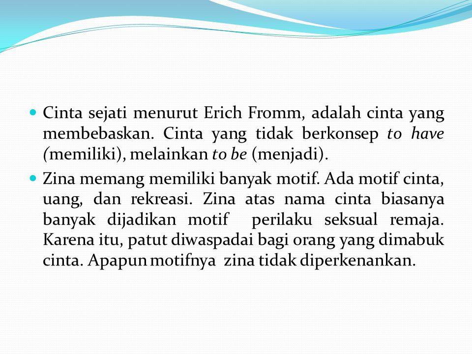 Cinta sejati menurut Erich Fromm, adalah cinta yang membebaskan. Cinta yang tidak berkonsep to have (memiliki), melainkan to be (menjadi). Zina memang