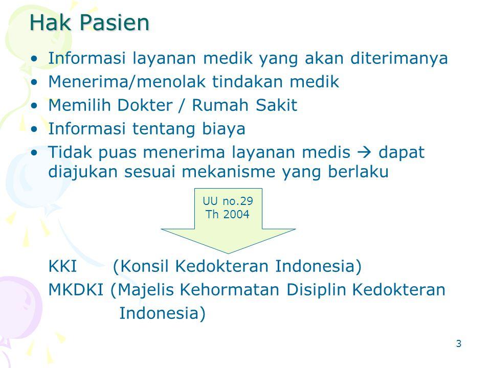 3 Hak Pasien Informasi layanan medik yang akan diterimanya Menerima/menolak tindakan medik Memilih Dokter / Rumah Sakit Informasi tentang biaya Tidak puas menerima layanan medis  dapat diajukan sesuai mekanisme yang berlaku KKI (Konsil Kedokteran Indonesia) MKDKI (Majelis Kehormatan Disiplin Kedokteran Indonesia) UU no.29 Th 2004