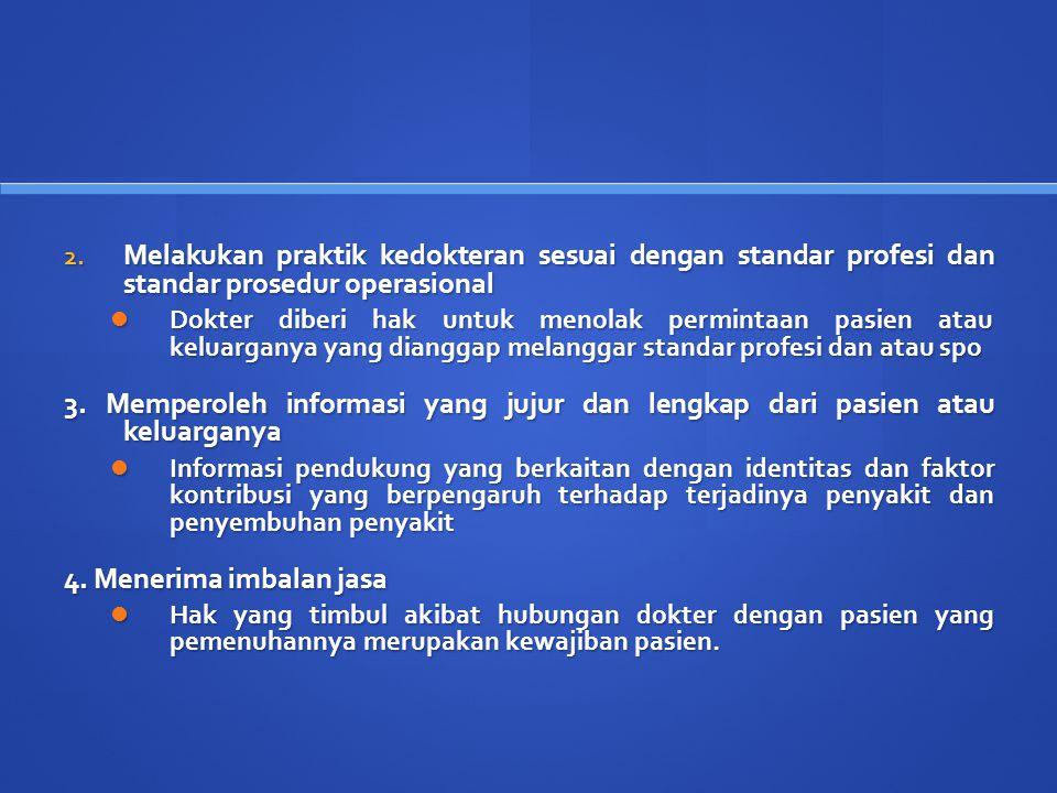 Hak dokter yang berasal dari hak azasi manusia Hak atas privasinya Hak atas privasinya Hak untuk diperlakukan secara layak Hak untuk diperlakukan secara layak Hak untuk beristirahat Hak untuk beristirahat Hak untuk secara bebas memilih pekerjaan Hak untuk secara bebas memilih pekerjaan Hak untuk terbebas dari ancaman kekerasan Hak untuk terbebas dari ancaman kekerasan