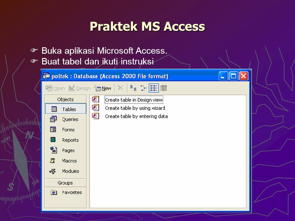 Praktek MS Access  Buka aplikasi Microsoft Access.  Buat tabel dan ikuti instruksi