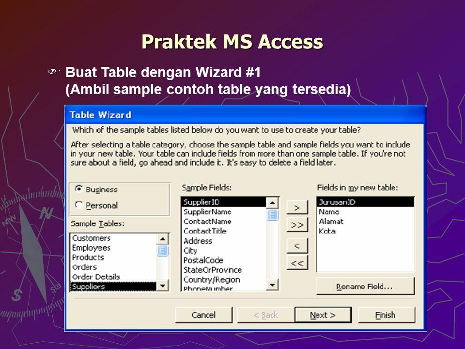Praktek MS Access  Buat Table dengan Wizard #1 (Ambil sample contoh table yang tersedia)