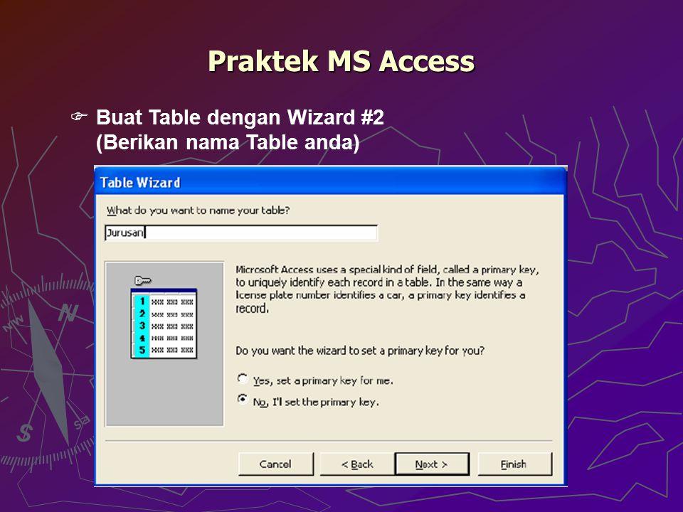 Praktek MS Access  Buat Table dengan Wizard #2 (Berikan nama Table anda)