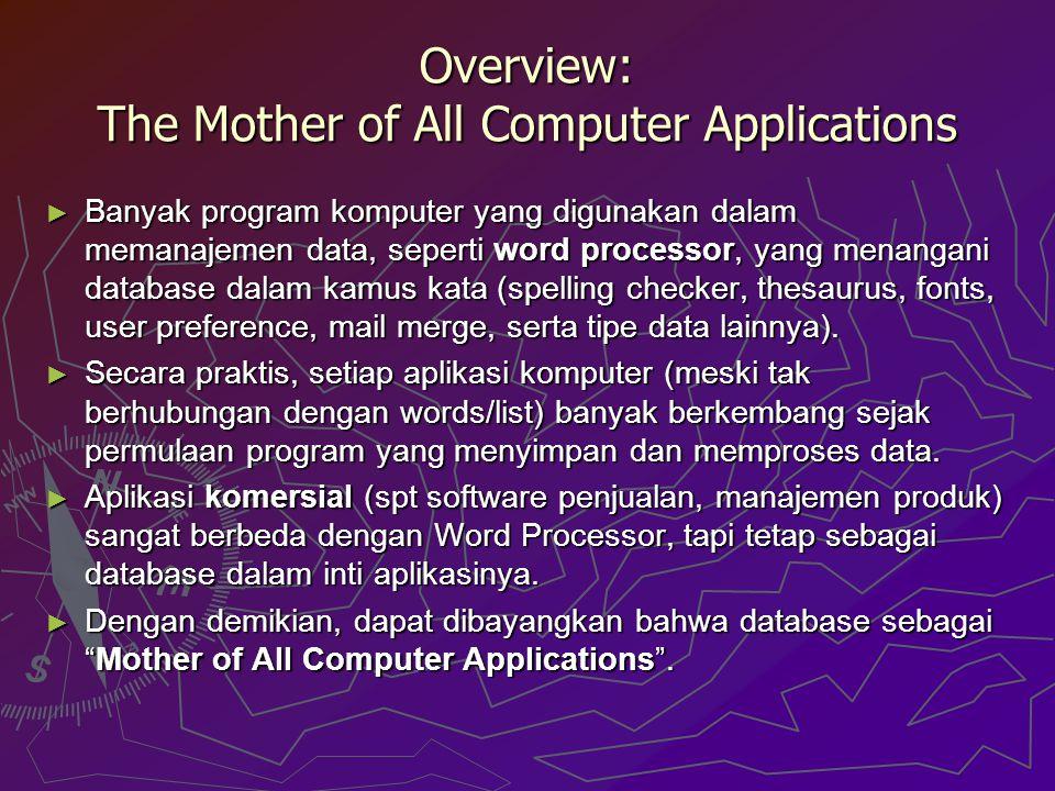 ► Banyak program komputer yang digunakan dalam memanajemen data, seperti word processor, yang menangani database dalam kamus kata (spelling checker, t