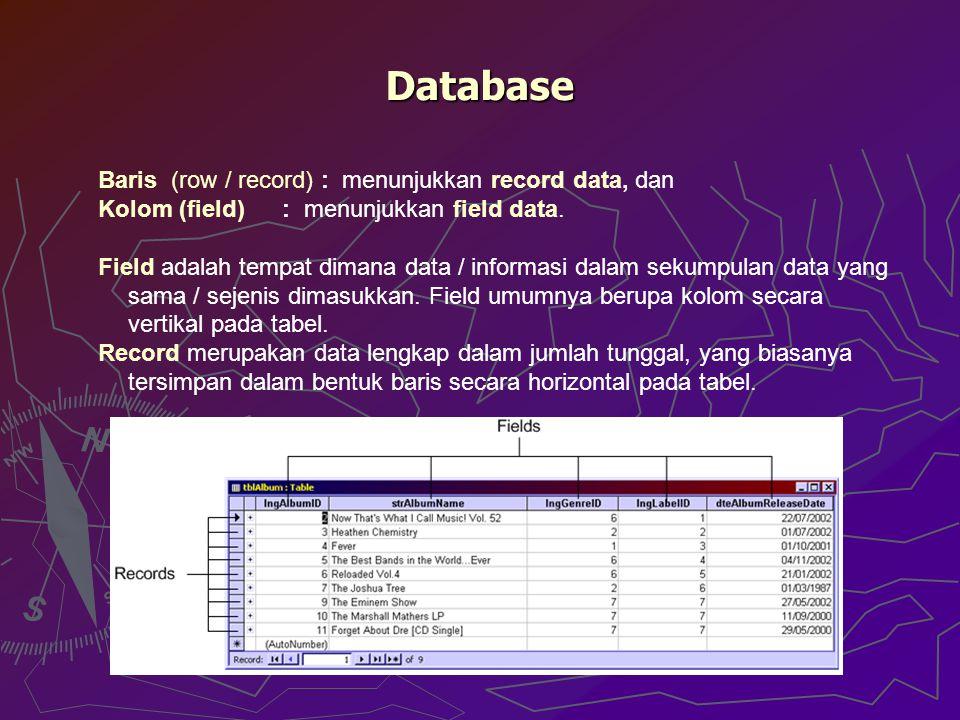 Database Baris (row / record) : menunjukkan record data, dan Kolom (field) : menunjukkan field data. Field adalah tempat dimana data / informasi dalam