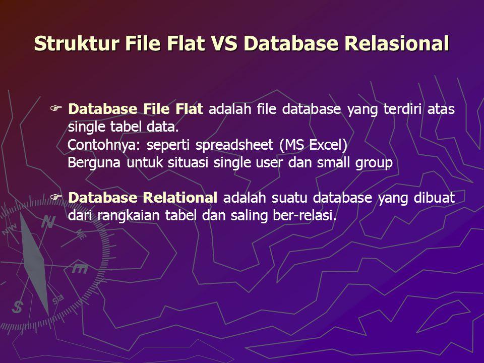 Struktur File Flat VS Database Relasional  Database File Flat adalah file database yang terdiri atas single tabel data. Contohnya: seperti spreadshee