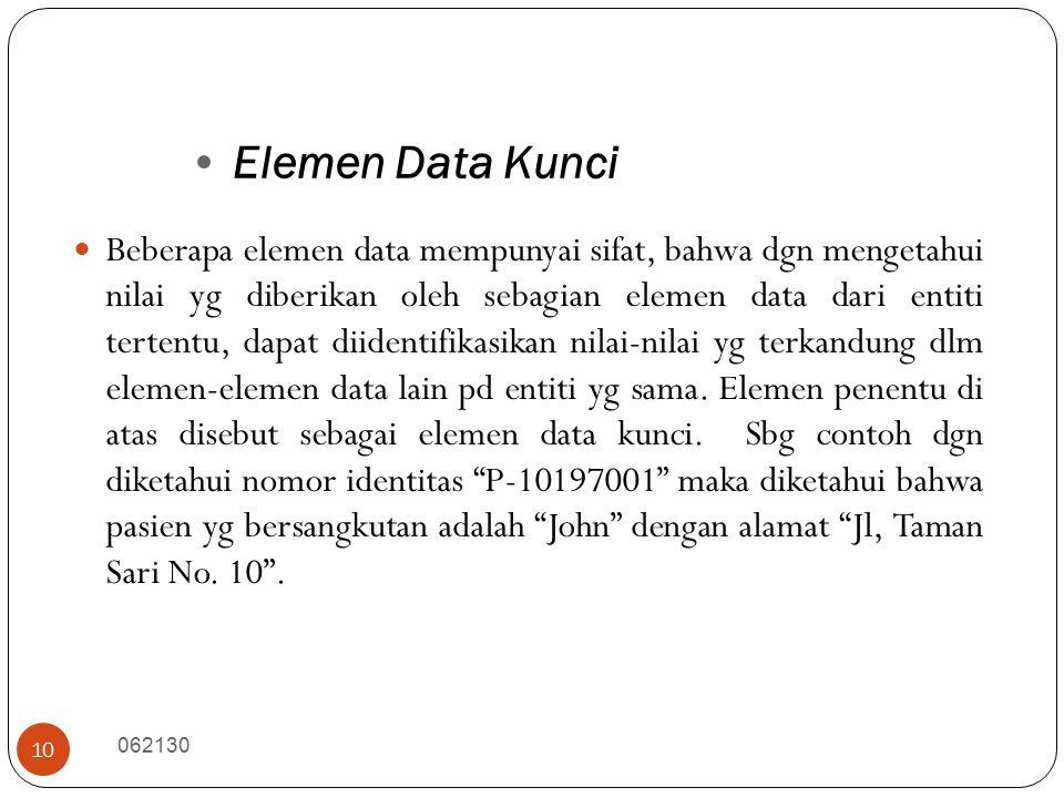 Elemen Data Kunci 062130 10 Beberapa elemen data mempunyai sifat, bahwa dgn mengetahui nilai yg diberikan oleh sebagian elemen data dari entiti tertentu, dapat diidentifikasikan nilai-nilai yg terkandung dlm elemen-elemen data lain pd entiti yg sama.