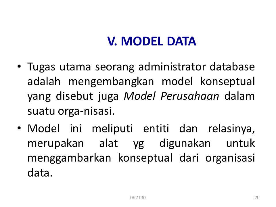 V. MODEL DATA Tugas utama seorang administrator database adalah mengembangkan model konseptual yang disebut juga Model Perusahaan dalam suatu orga-nis