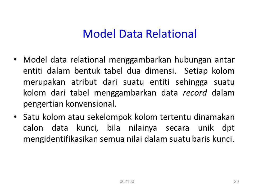 Model Data Relational Model data relational menggambarkan hubungan antar entiti dalam bentuk tabel dua dimensi. Setiap kolom merupakan atribut dari su
