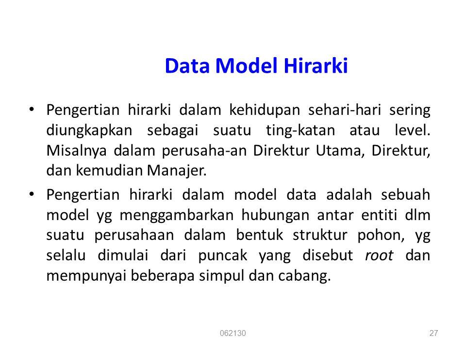 Data Model Hirarki Pengertian hirarki dalam kehidupan sehari-hari sering diungkapkan sebagai suatu ting-katan atau level. Misalnya dalam perusaha-an D