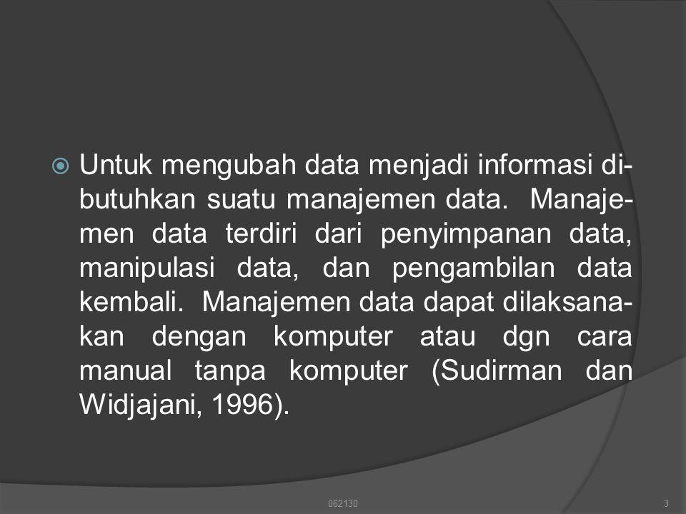  Untuk mengubah data menjadi informasi di- butuhkan suatu manajemen data. Manaje- men data terdiri dari penyimpanan data, manipulasi data, dan pengam