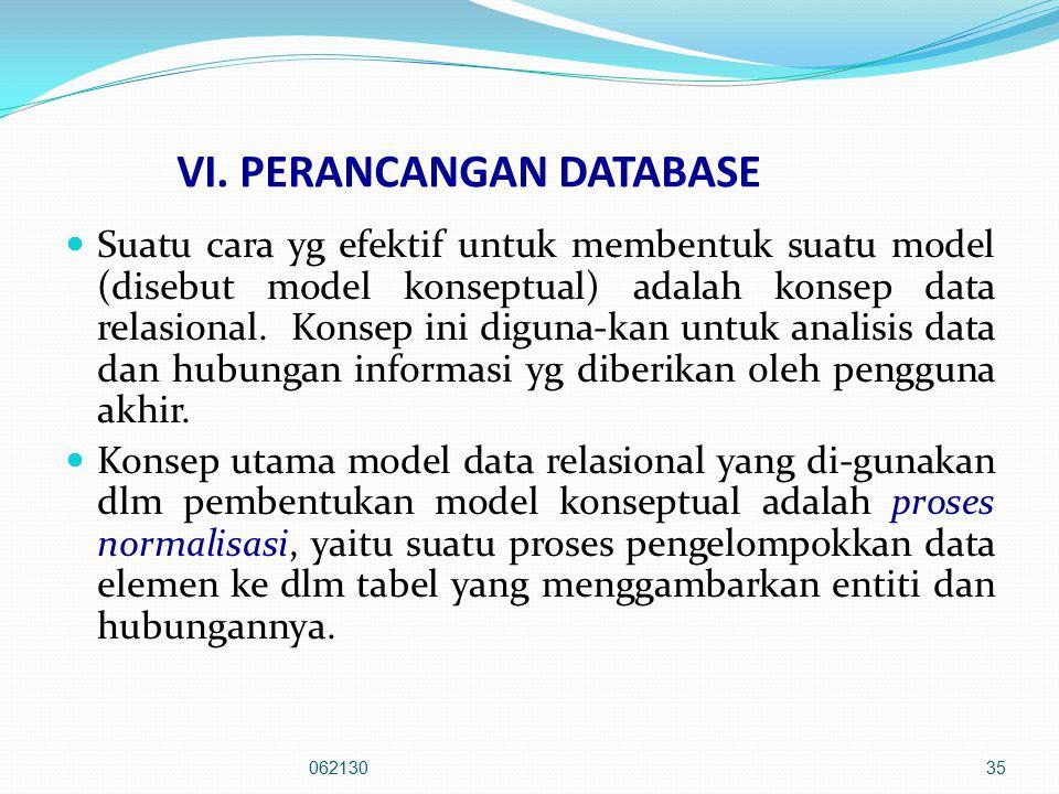 VI. PERANCANGAN DATABASE Suatu cara yg efektif untuk membentuk suatu model (disebut model konseptual) adalah konsep data relasional. Konsep ini diguna