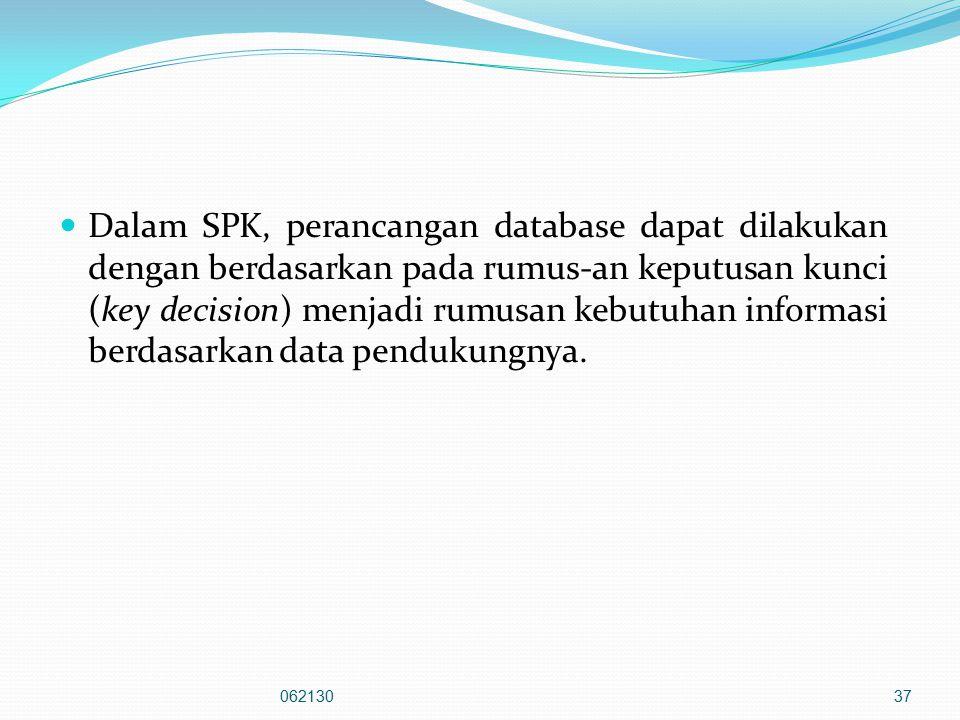 Dalam SPK, perancangan database dapat dilakukan dengan berdasarkan pada rumus-an keputusan kunci (key decision) menjadi rumusan kebutuhan informasi berdasarkan data pendukungnya.