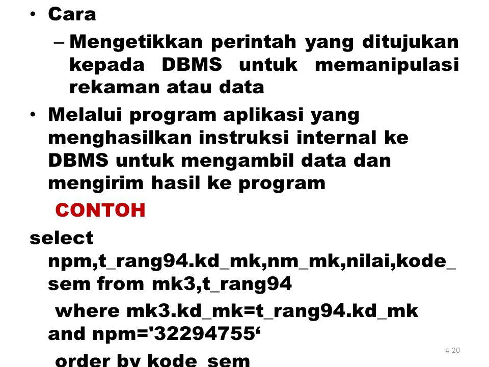 Data Manipulation Language / DML) –D–DML Prosedural Perintah untuk menentukan data apa dan bagaimana cara mendapatkannya –D–DML Non-Prosedural Perinta