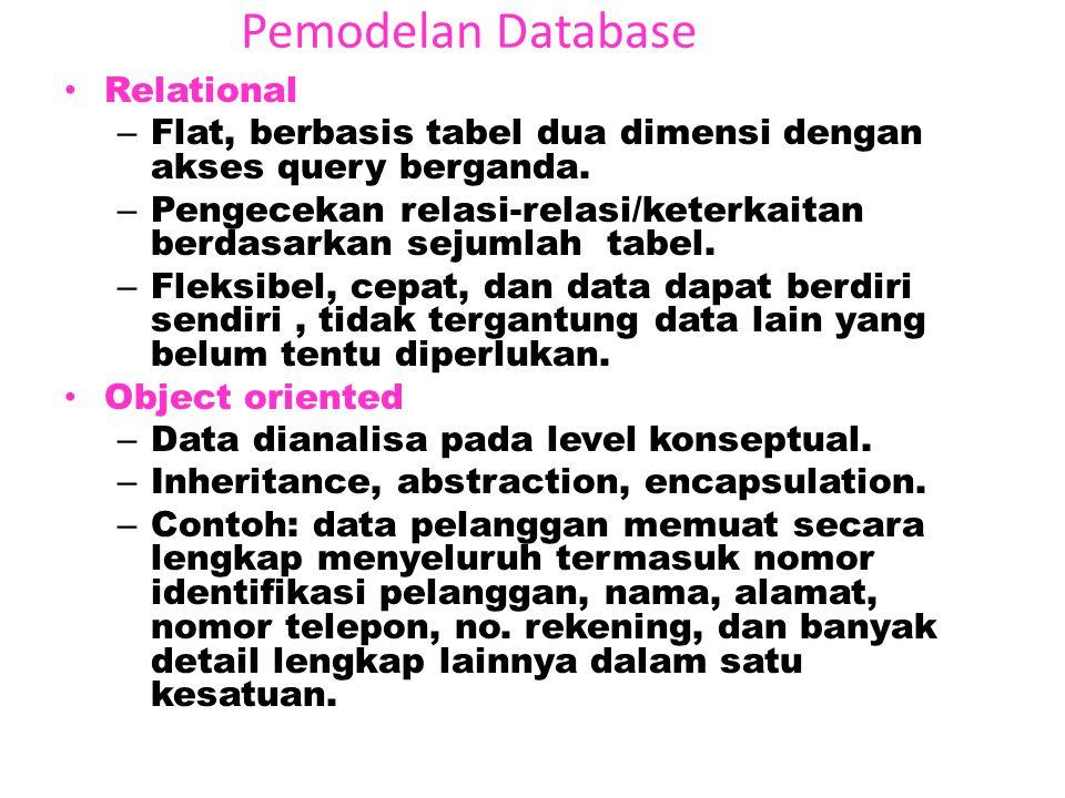 Pemodelan Database Hierarchical – Dari umum ke semakin khusus (Top down), (cara pohon terbalik/inverted tree) – Field-field hanya memiliki saatu 'pare