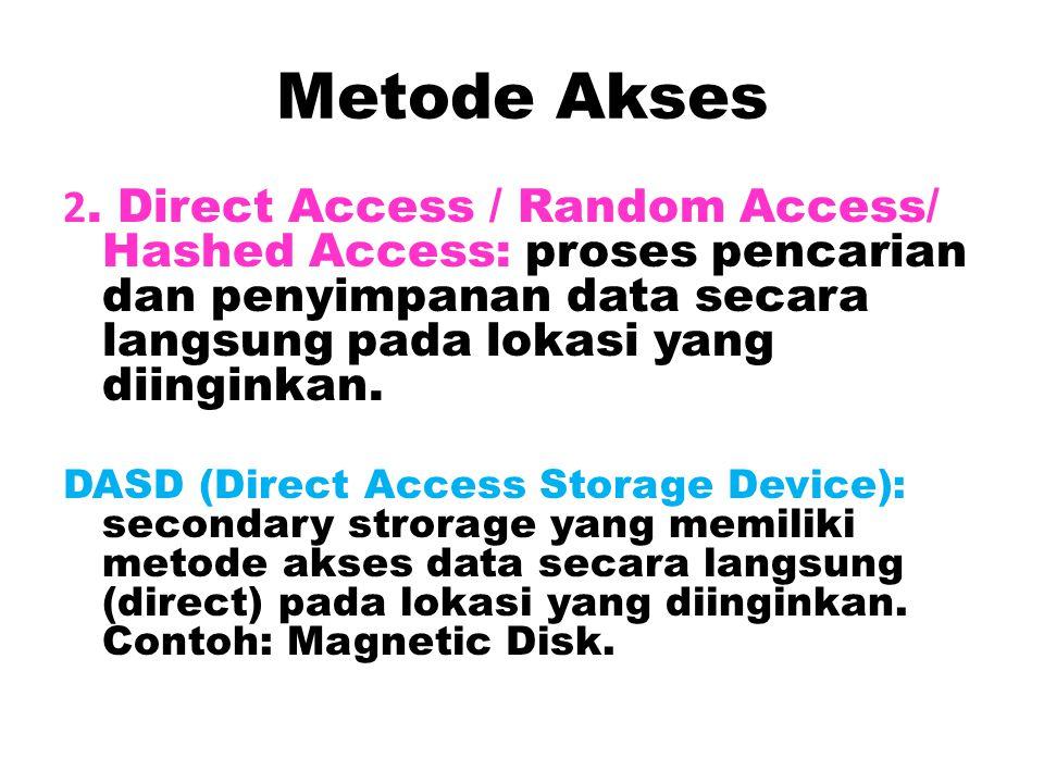 Metode Akses 1.Akses Berurutan (Sequential Access): proses pencarian dan penyimpanan data secara berurutan sesuai urutan lokasi tempat data yang dicar