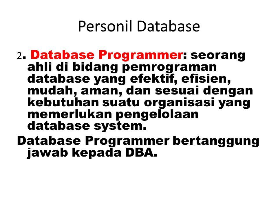 Personil Database Keahlian teknis dalam hal memahami seluruh proses bisnis pada perusahaan/organisasi yang ditanganinya, keahlian teknologi database (