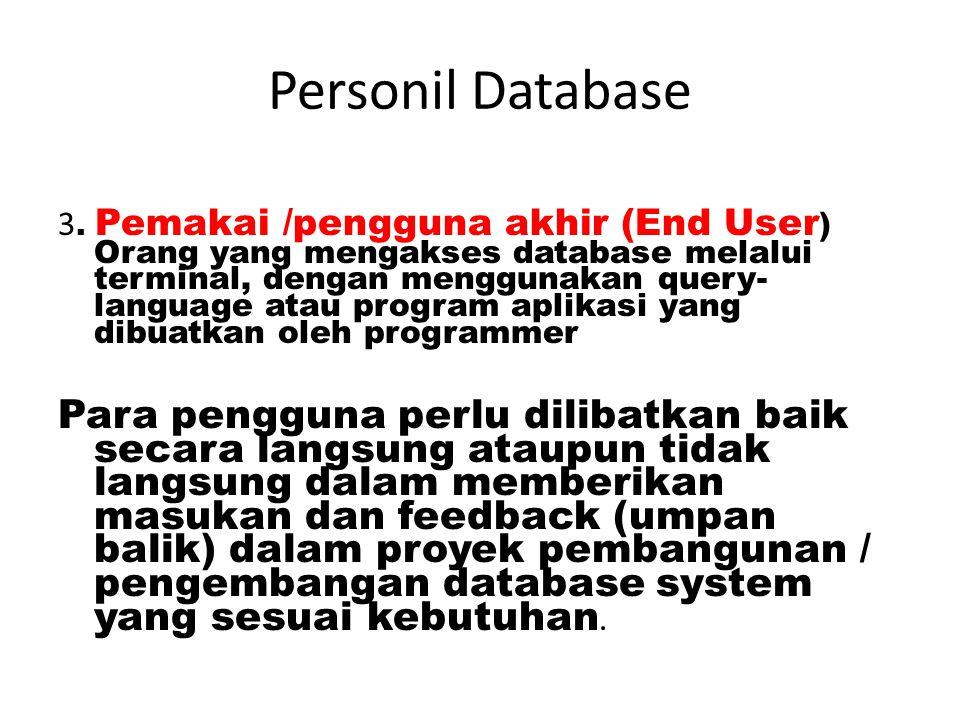 Personil Database 2. Database Programmer: seorang ahli di bidang pemrograman database yang efektif, efisien, mudah, aman, dan sesuai dengan kebutuhan