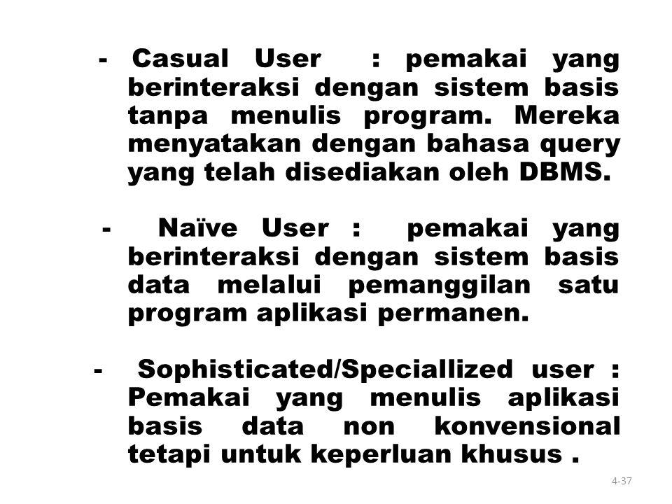 Personil Database 3. Pemakai /pengguna akhir (End User ) Orang yang mengakses database melalui terminal, dengan menggunakan query- language atau progr