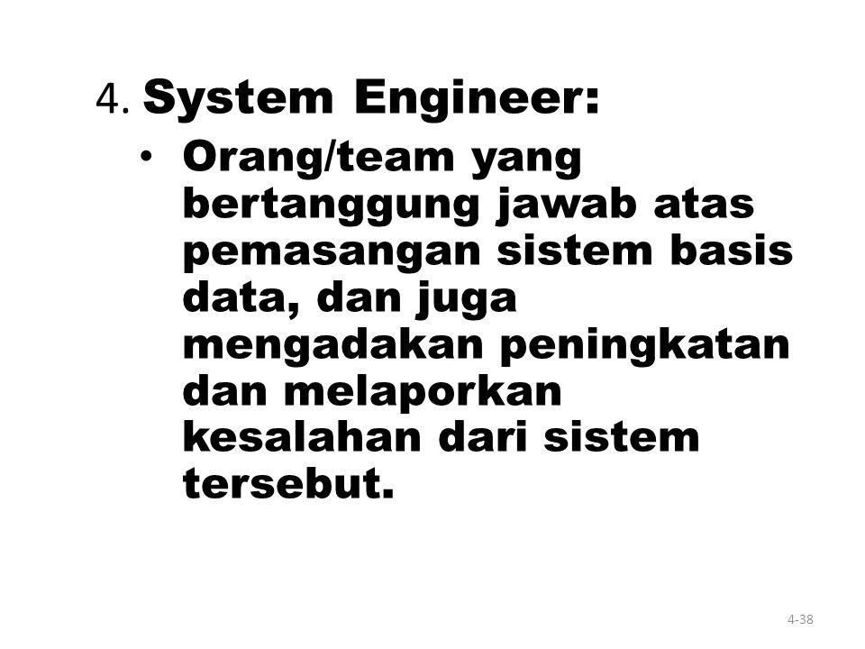 4-37 - Casual User : pemakai yang berinteraksi dengan sistem basis tanpa menulis program. Mereka menyatakan dengan bahasa query yang telah disediakan