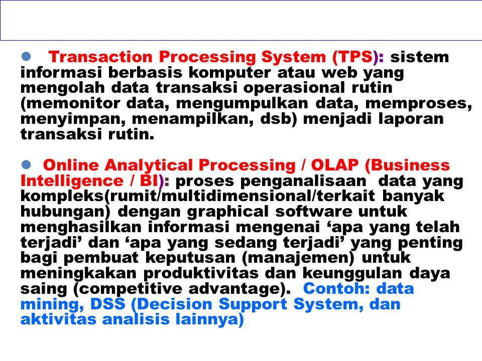 Online Transaction processing (OLTP): pengolahan data per transaksi secara online saat kejadian transaksi bisnis operasional rutin. Contoh: Saat pelan