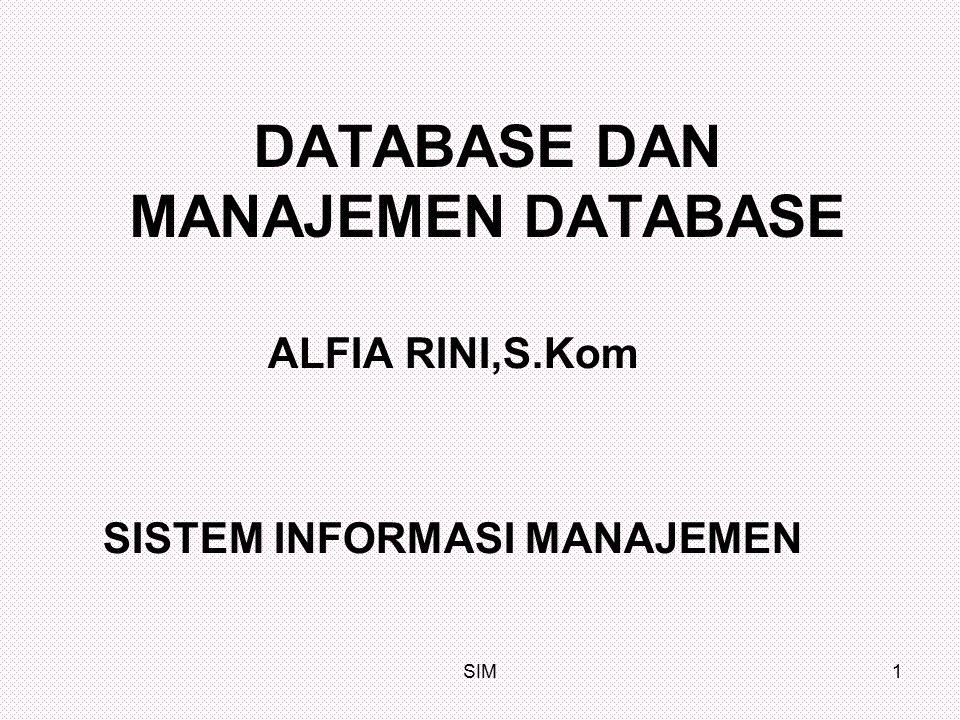 SIM2 BAB X DATABASE DAN SISTEM MANAJEMEN DATABASE Pendahuluan Manajemen data merupakan bagian dari manajemen sumber daya informasi serta memastikan bahwa sumber daya data perusahaan mencerminkan secara akurat sistem fisik yang diwakilinya.
