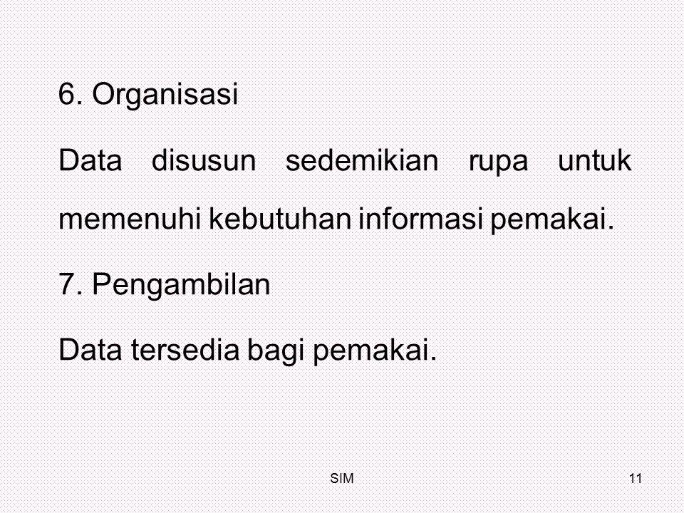 SIM11 6. Organisasi Data disusun sedemikian rupa untuk memenuhi kebutuhan informasi pemakai. 7. Pengambilan Data tersedia bagi pemakai.