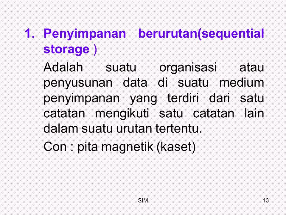 SIM13 1.Penyimpanan berurutan(sequential storage ) Adalah suatu organisasi atau penyusunan data di suatu medium penyimpanan yang terdiri dari satu cat