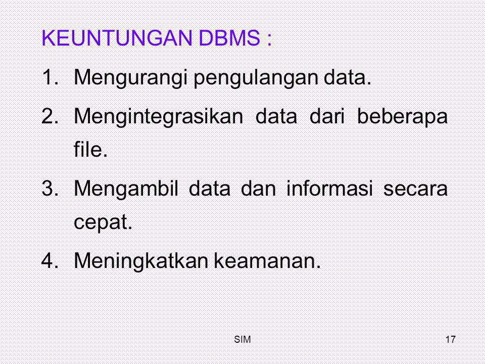 SIM17 KEUNTUNGAN DBMS : 1.Mengurangi pengulangan data. 2.Mengintegrasikan data dari beberapa file. 3.Mengambil data dan informasi secara cepat. 4.Meni