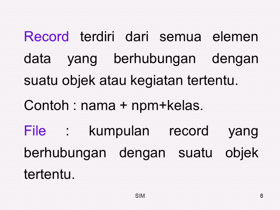 SIM6 Record terdiri dari semua elemen data yang berhubungan dengan suatu objek atau kegiatan tertentu. Contoh : nama + npm+kelas. File : kumpulan reco