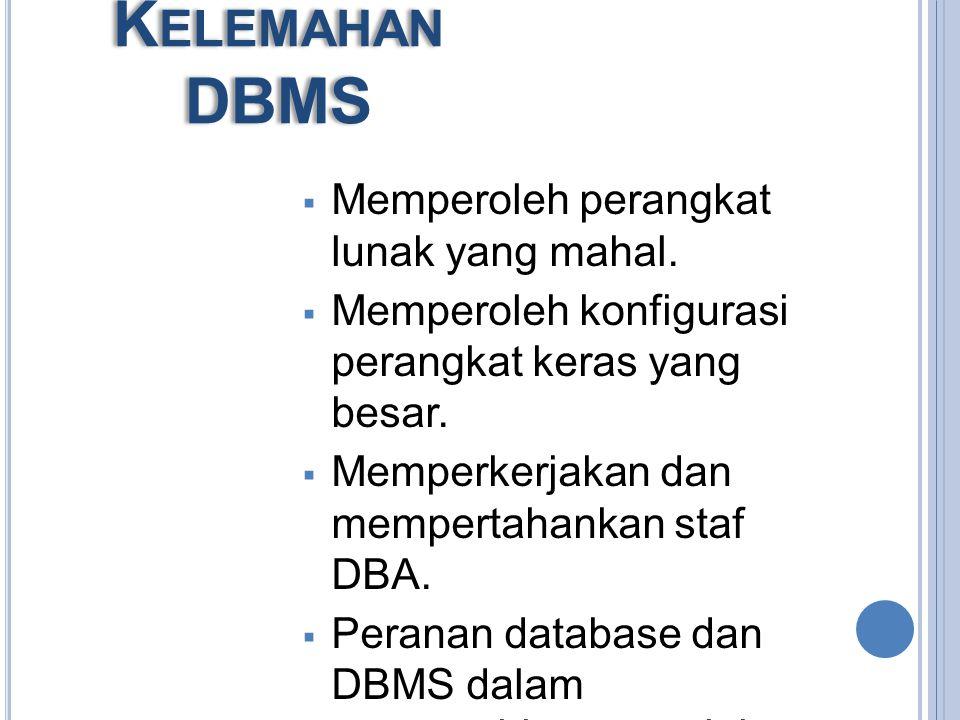 K EUNGGULAN DBMS : Mengurangi pengulangan data. Mencapai independensi data. Spesifikasi data disimpan dalam tiap program aplikasi. Perubahan dapat dib