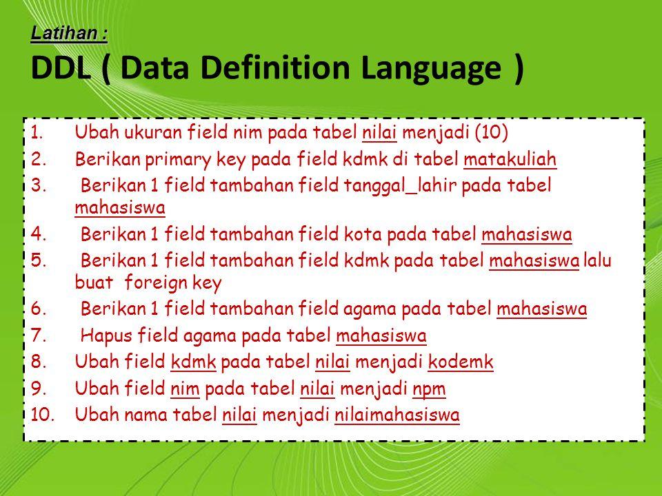 Powerpoint Templates Page 12 Powerpoint Templates Latihan : DDL ( Data Definition Language ) 1.Ubah ukuran field nim pada tabel nilai menjadi (10) 2.B
