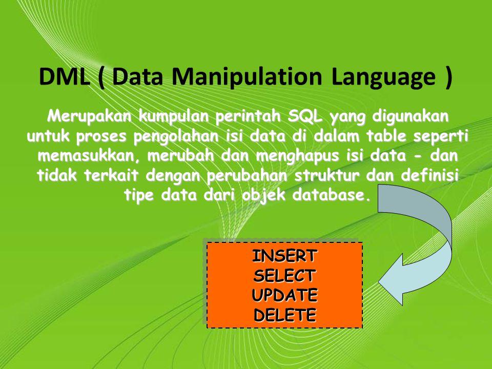 Powerpoint Templates Page 14 Powerpoint Templates DML ( Data Manipulation Language ) Merupakan kumpulan perintah SQL yang digunakan untuk proses pengo