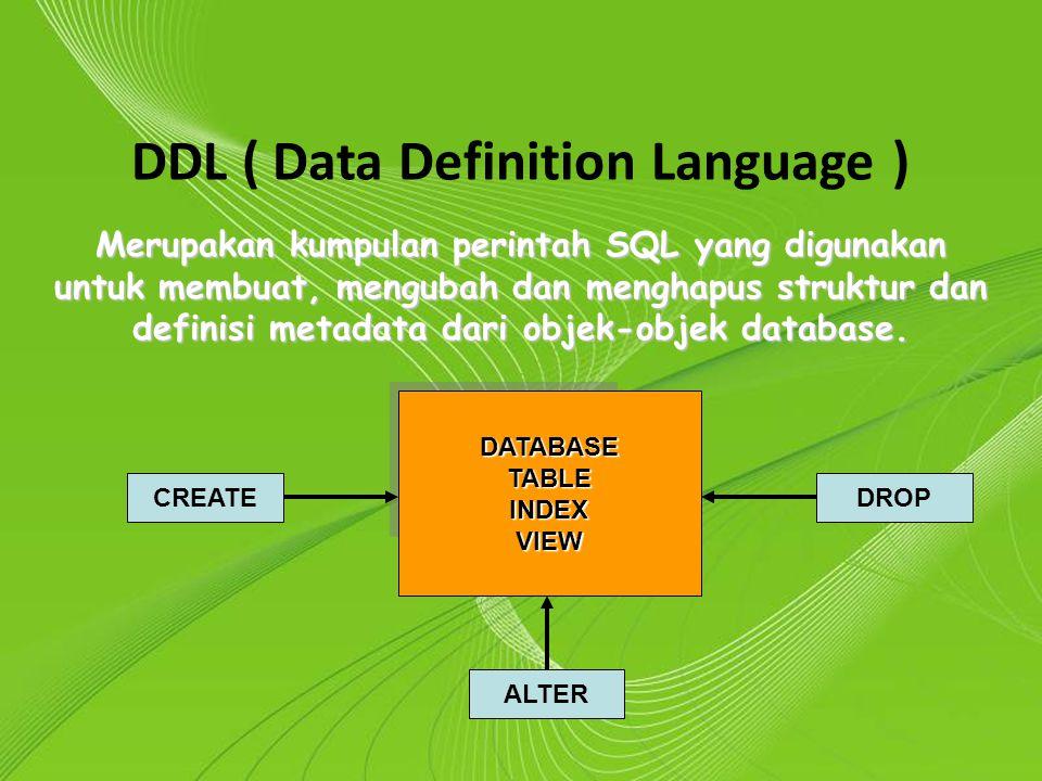 Powerpoint Templates Page 2 Powerpoint Templates DDL ( Data Definition Language ) Merupakan kumpulan perintah SQL yang digunakan untuk membuat, mengub