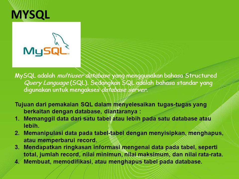 Powerpoint Templates Page 3 Powerpoint Templates MYSQL MySQL adalah multiuser database yang menggunakan bahasa Structured Query Language (SQL). Sedang
