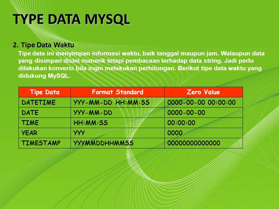 Powerpoint Templates Page 6 Powerpoint Templates TYPE DATA MYSQL 2. Tipe Data Waktu Tipe data ini menyimpan informasi waktu, baik tanggal maupun jam.