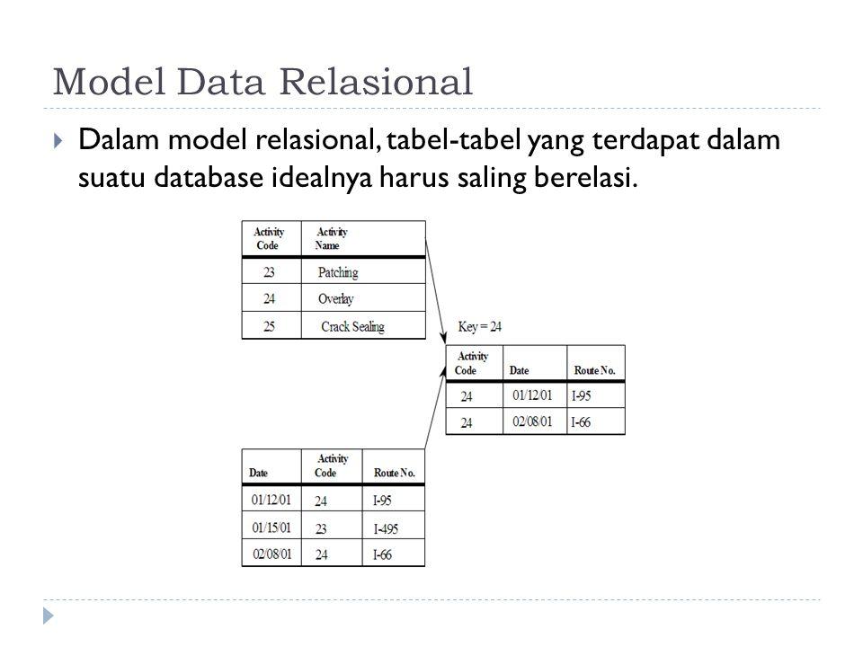 Model Data Relasional  Dalam model relasional, tabel-tabel yang terdapat dalam suatu database idealnya harus saling berelasi.