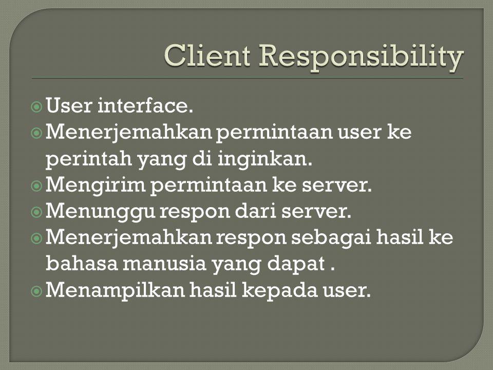  User interface.  Menerjemahkan permintaan user ke perintah yang di inginkan.