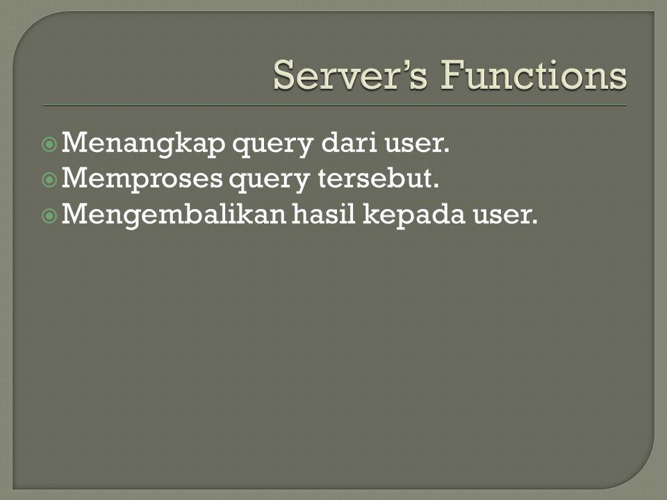  Menangkap query dari user.  Memproses query tersebut.  Mengembalikan hasil kepada user.